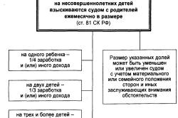 Таблица размеров алиментов на одного ребенка